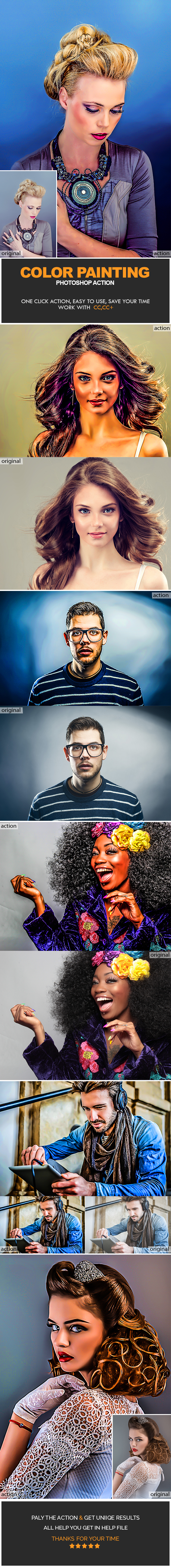 Color Painting Photoshop Action - Photo Effects Actions