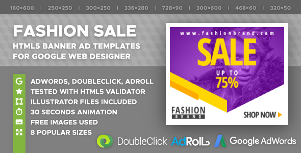 Fashion Sale - HTML5 Banner Ad Templates (GWD) - CodeCanyon Item for Sale