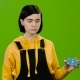 Girl Advertises a Credit Card and Shows Okay. Green Screen - VideoHive Item for Sale