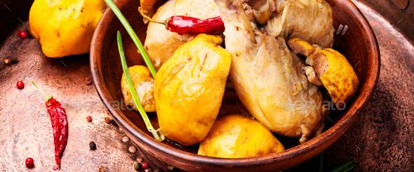 Saute with chicken and quince - Stock Photo - Images