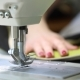 Woman Working at a Sewing Machine, Two-needle Sewing Machine, Red Manicure on Female Hands - VideoHive Item for Sale