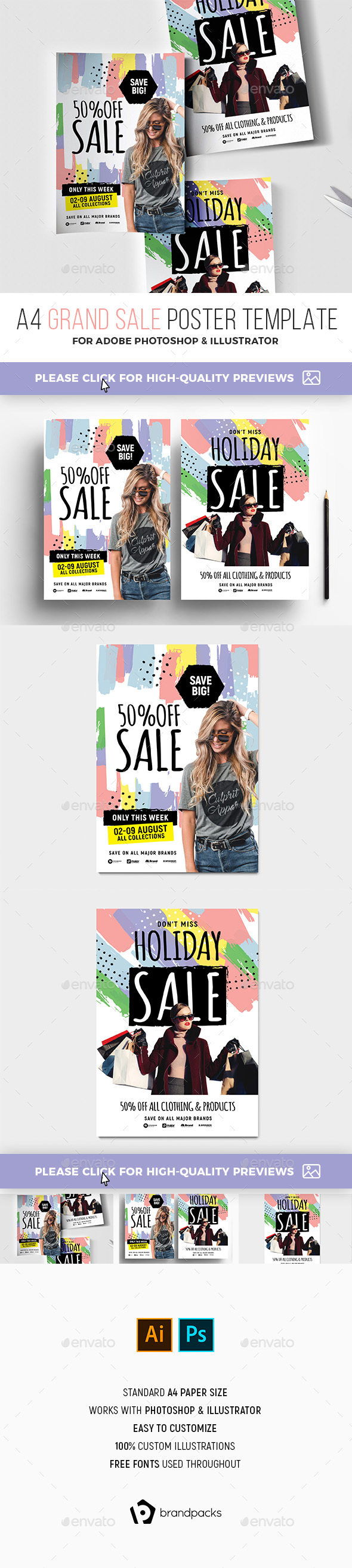 A4 Grand Sale Poster Templates - Commerce Flyers