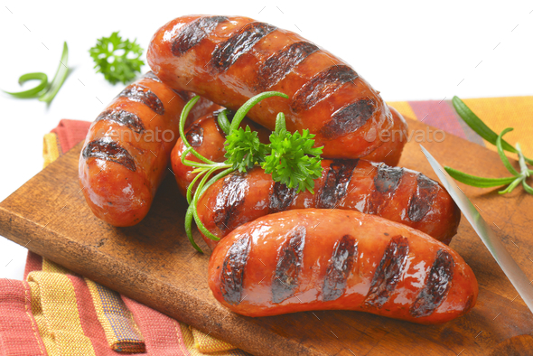 grilled short sausages - Stock Photo - Images