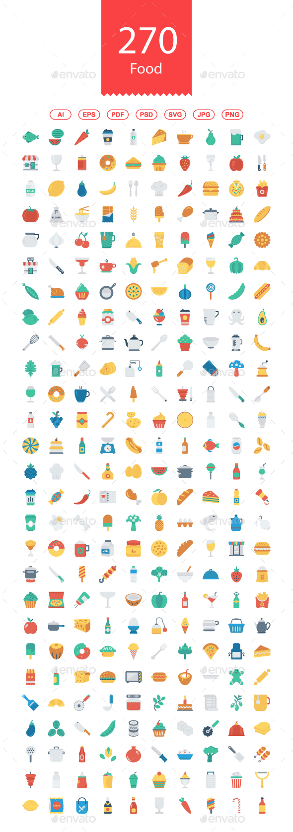 250+ Food Flat Icons - Food Objects