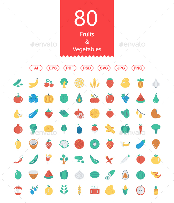 80 Fruits & Vegetables Flat Icons - Food Objects