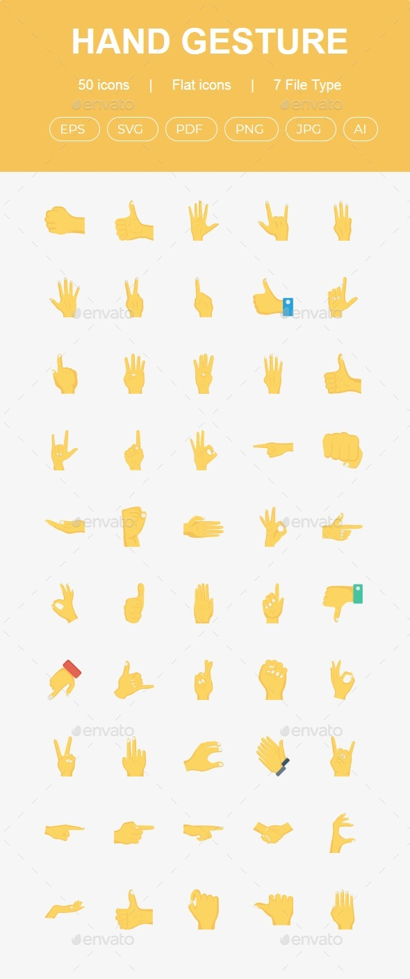 50 Hand Gestures Flat Icons - Web Icons
