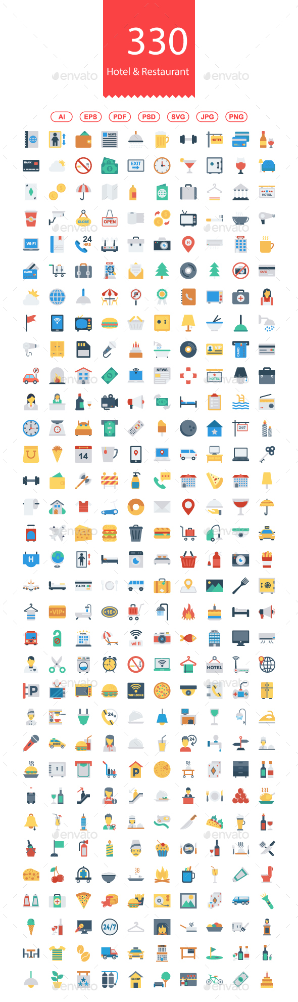 300+ Hotel & Restaurant Flat Icons - Business Icons