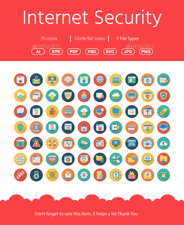 60+ Internet Security Flat icons - Business Icons