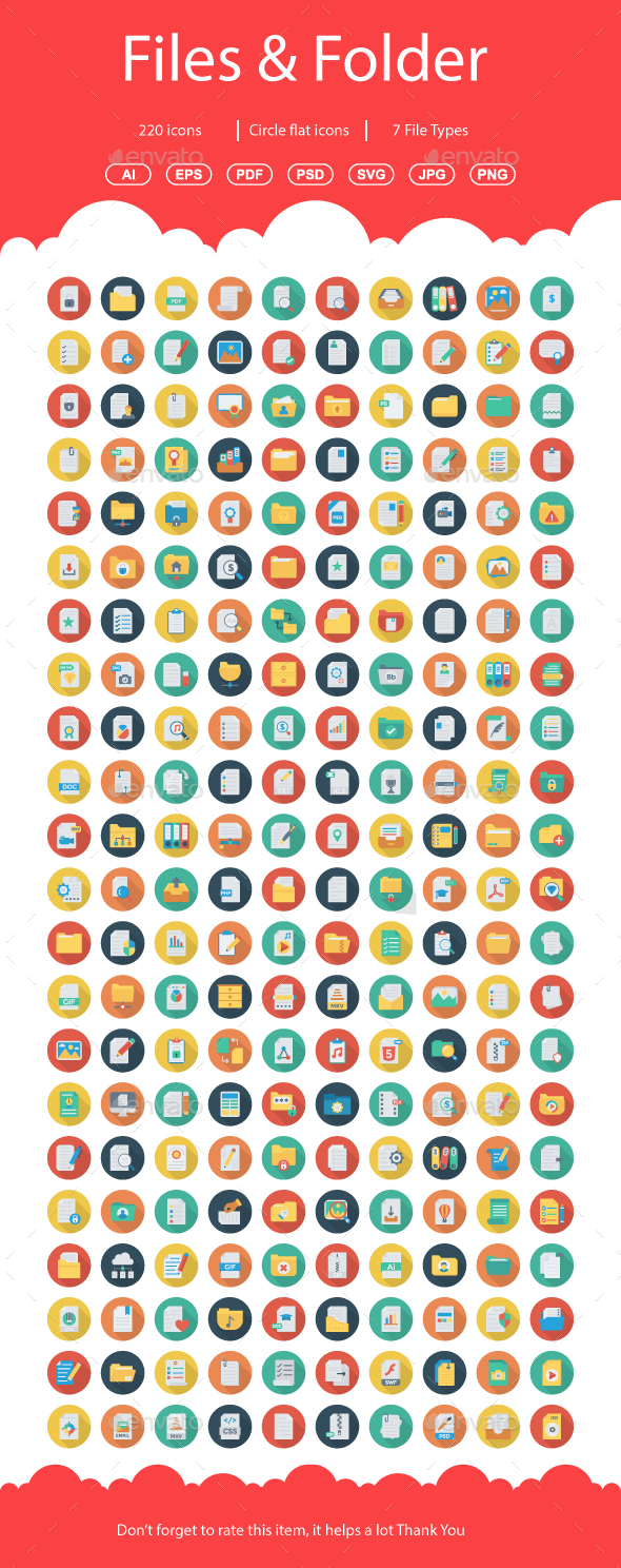 200+ Files & Folders Flat Circle - Web Icons