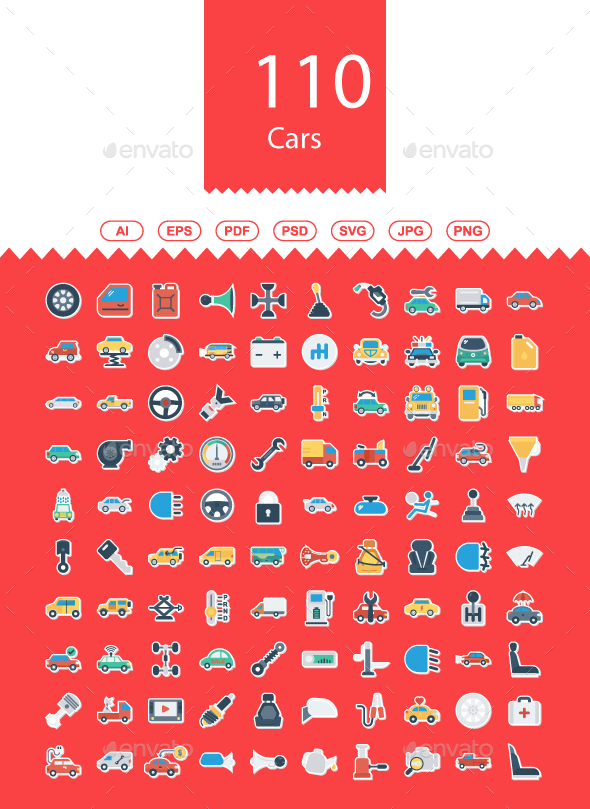100+ Car Flat icons - Web Icons