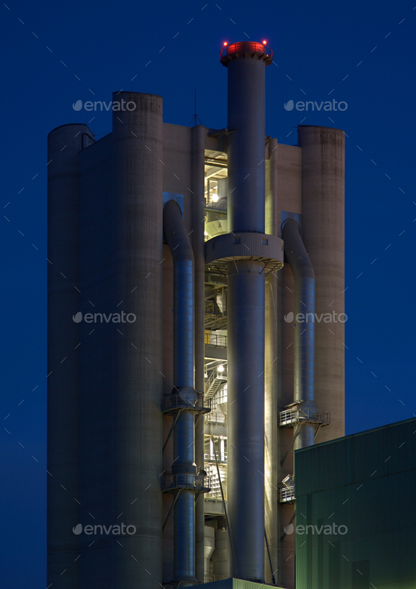 Cement Factoy Tower At Night - Stock Photo - Images