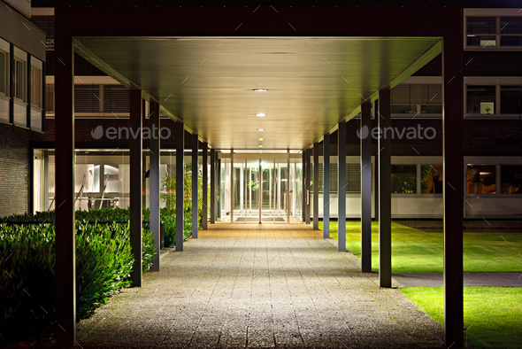 Roofed Office Building Entrance At Night - Stock Photo - Images
