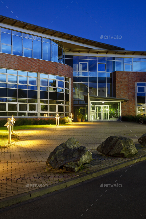 Modern Office Building With Night Blue Sky - Stock Photo - Images