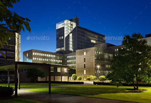 Modern Office Buildings At Night - Stock Photo - Images