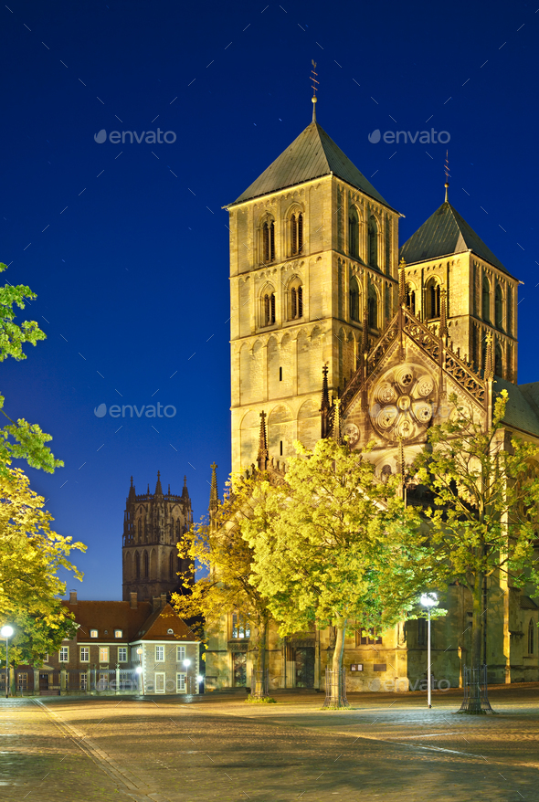 Muenster Cathedral At Night, Germany - Stock Photo - Images