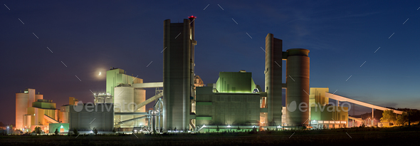 Cement Factory Panorama At Night - Stock Photo - Images