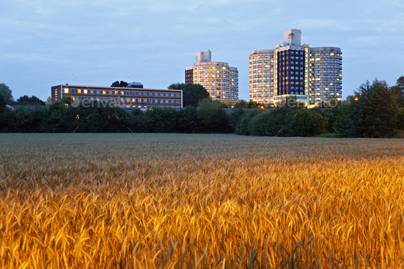 Hospital Building And Wheat Field, Germany - Stock Photo - Images