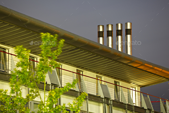 Modern Office Building At Night - Stock Photo - Images