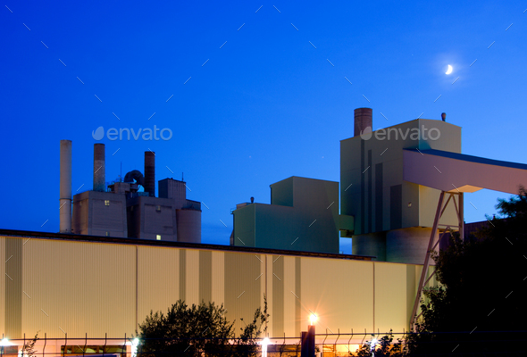 Industrial Building And Moon At Night - Stock Photo - Images