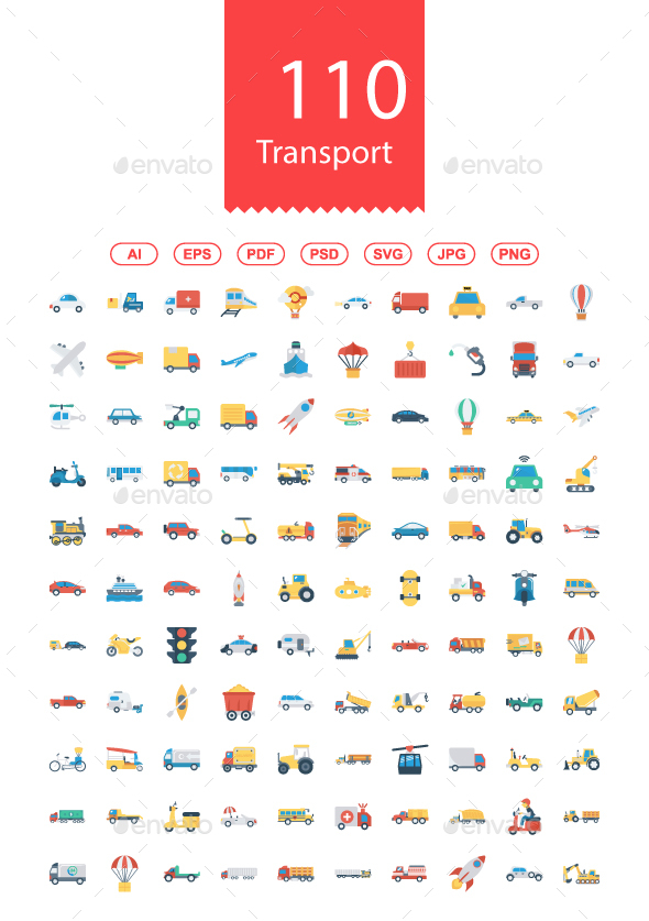 100+ Transport Flat Icons - Business Icons