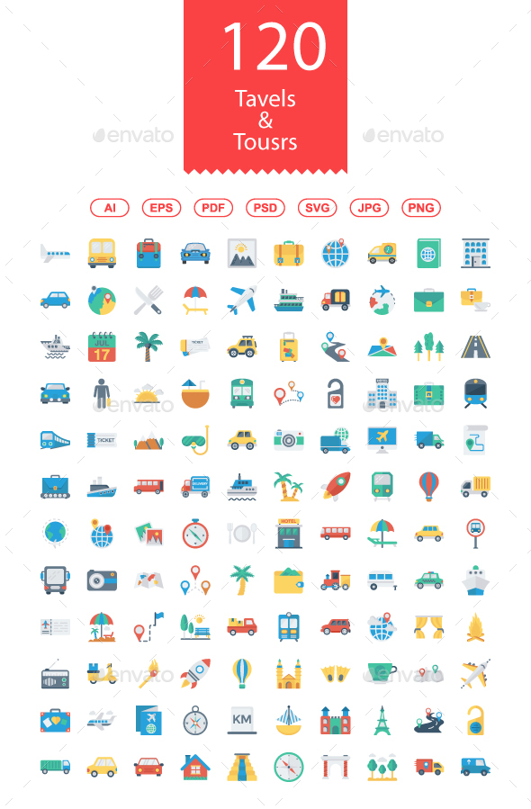 120 Travels & Tours Flat icons - Web Icons