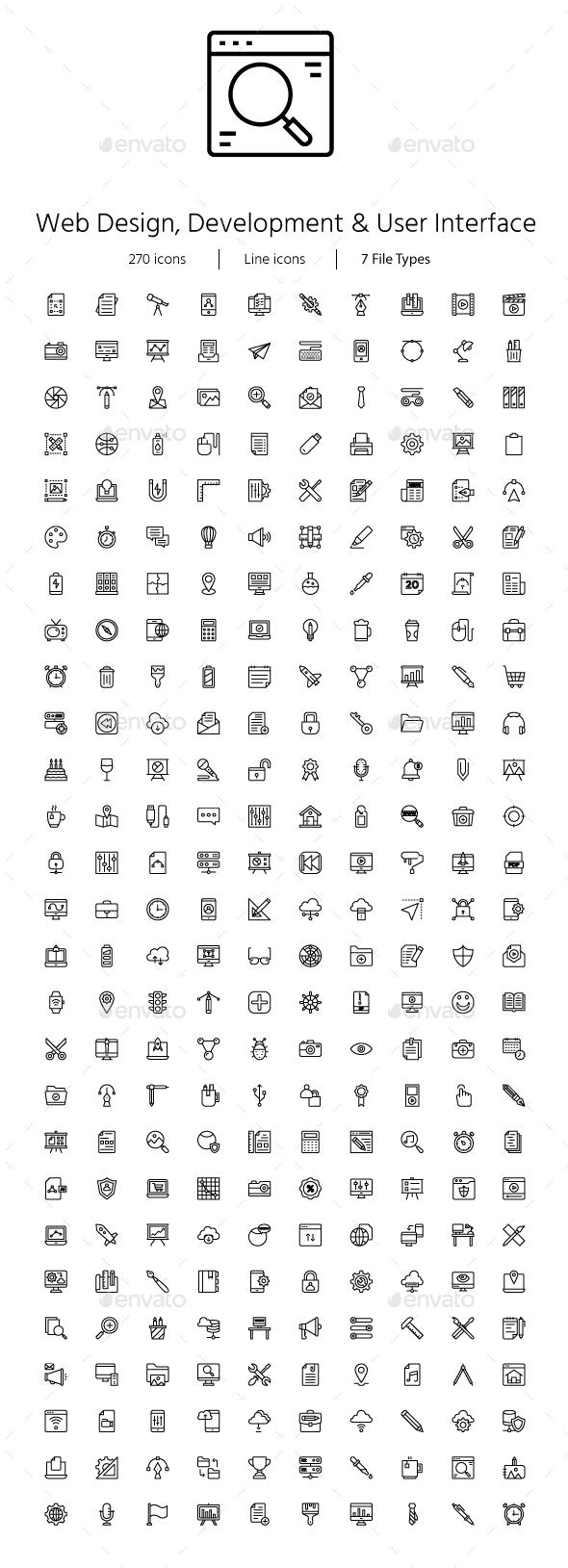Web Design, Development & User Line icons - Web Icons
