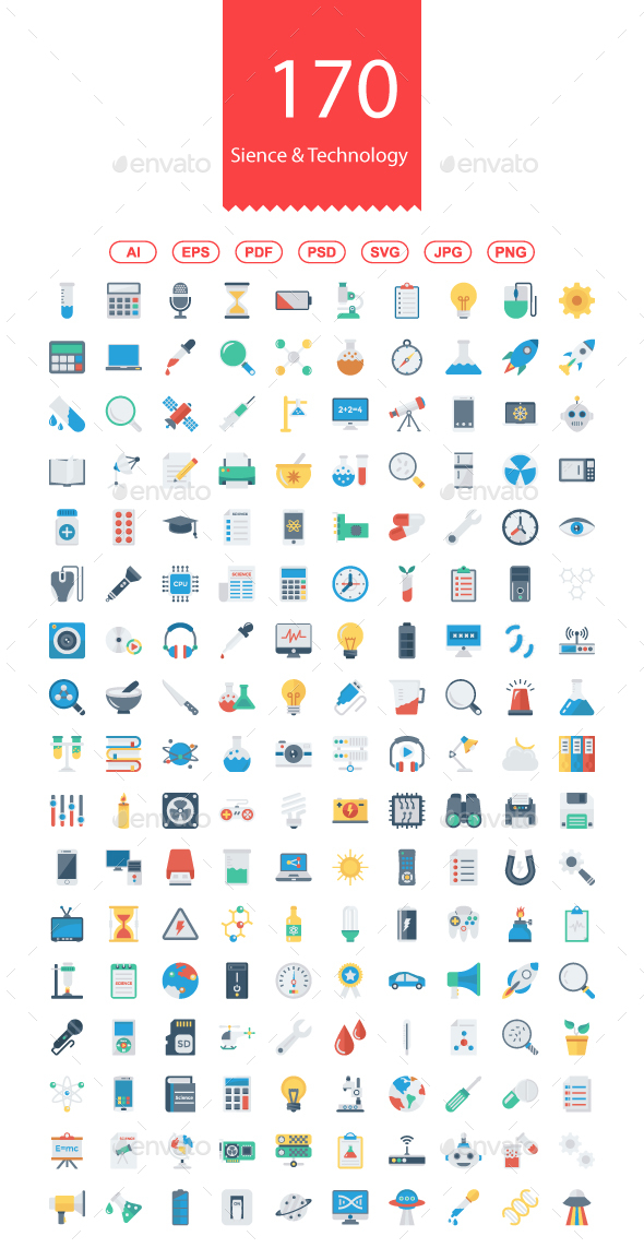 170 Science & Technology Flat Icons - Web Icons
