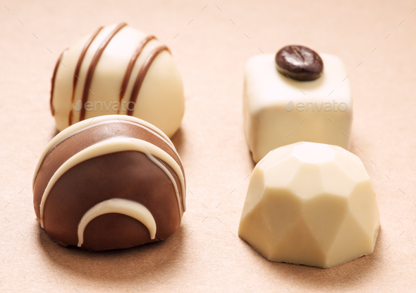 group of bonbons on brown paper - Stock Photo - Images