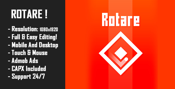 Rotare - HTML5 Game + Mobile Version! (Construct 2 / Construct 3 / CAPX) - CodeCanyon Item for Sale