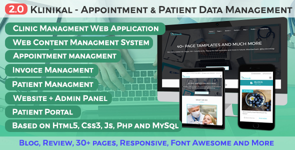 Image of Klinikal - Appointment & Patient Data Management Responsive Web Application