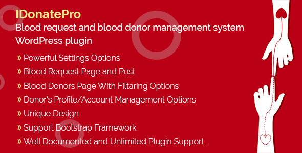 IDonatePro - Blood request and blood donor management system WordPress plugin - CodeCanyon Item for Sale