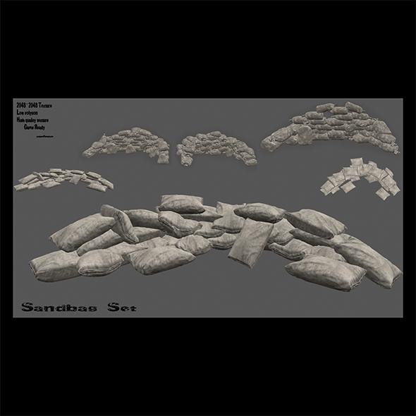 sandbag set - 3DOcean Item for Sale