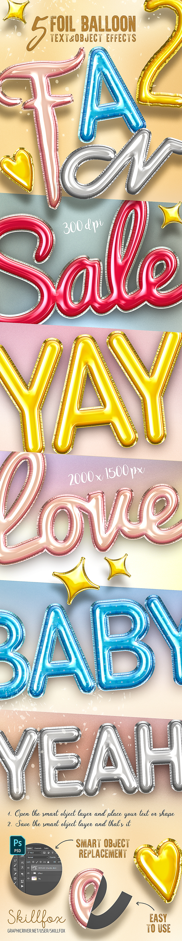 5 3D Foil Balloon Text Effects for Photoshop - Text Effects Actions