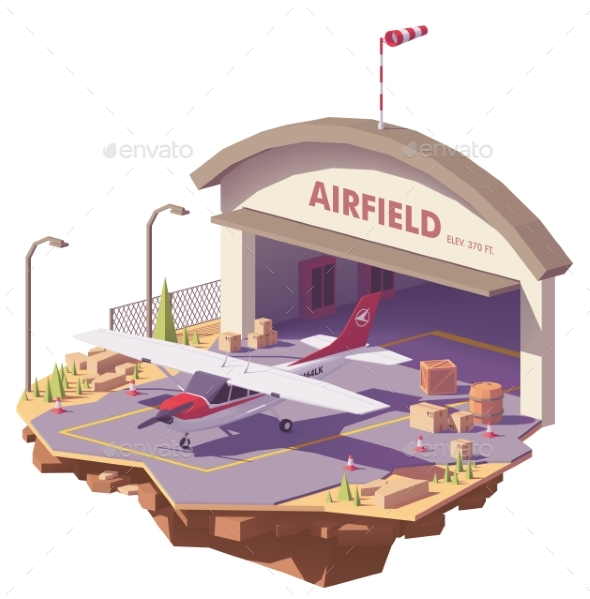 Vector Low Poly Airfield with Hangar and Airplane - Man-made Objects Objects