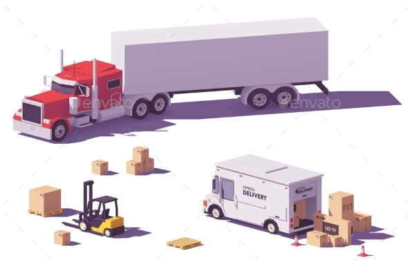 Vector Low Poly Trucks and Forklift - Man-made Objects Objects