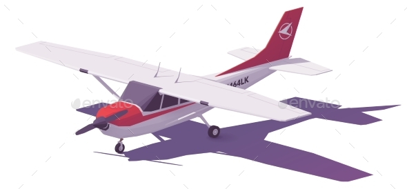 Vector Low Poly Small Airplane - Man-made Objects Objects