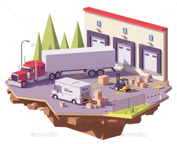 Vector Low Poly Warehouse - Man-made Objects Objects