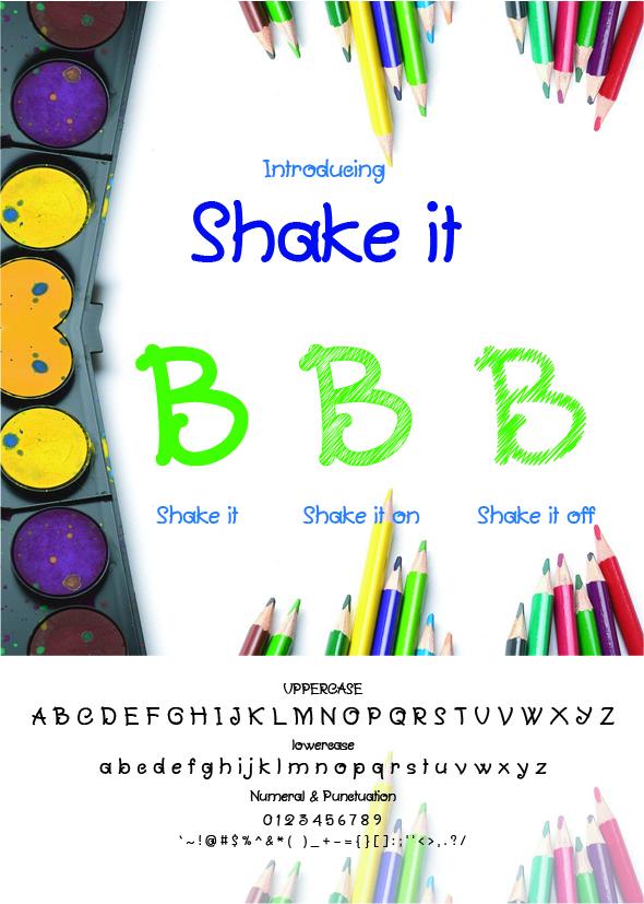 Shake it (3 Fonts) - Handwriting Fonts
