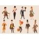 Vintage Victorian Cartoon Gents Retro People