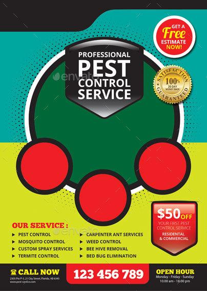 pest control service flyer by tholai graphicriver. Black Bedroom Furniture Sets. Home Design Ideas