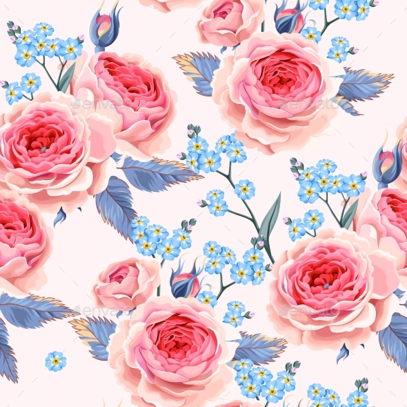 English Roses Seamless - Flowers & Plants Nature