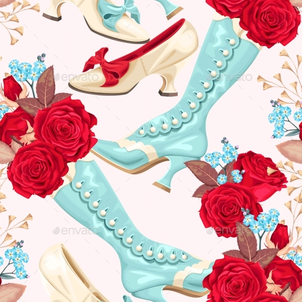 Vintage Shoes Seamless Background - Miscellaneous Vectors