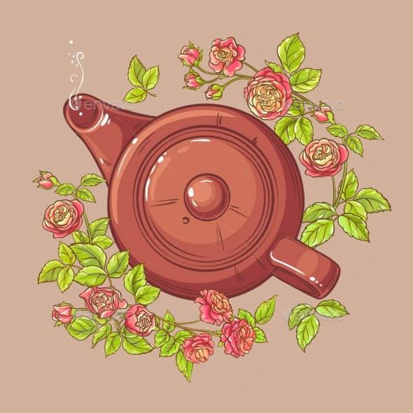 Rose Tea in Teapot - Food Objects