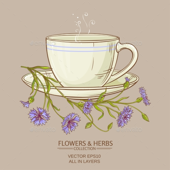Cup of Corn Flower Tea - Health/Medicine Conceptual