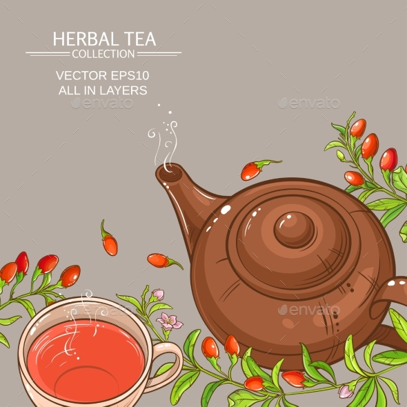 Goji Tea Vector Background - Food Objects