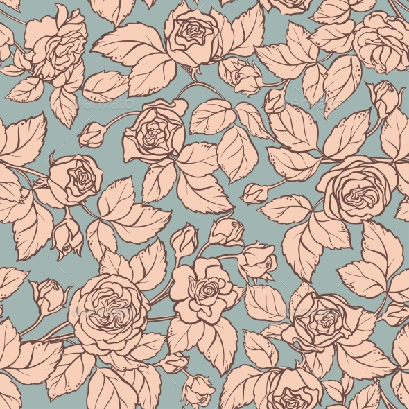 Rose Vector Pattern - Flowers & Plants Nature