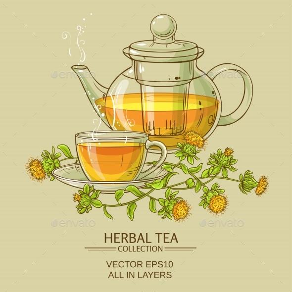 Safflower Tea Vector Illustration - Food Objects