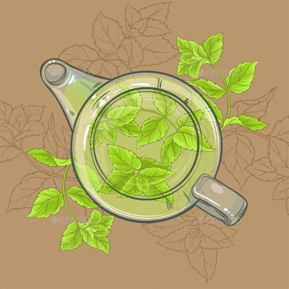 Peppermint Tea in Teapot - Food Objects