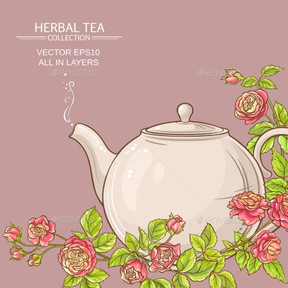 Rose Tea Vector Background - Food Objects
