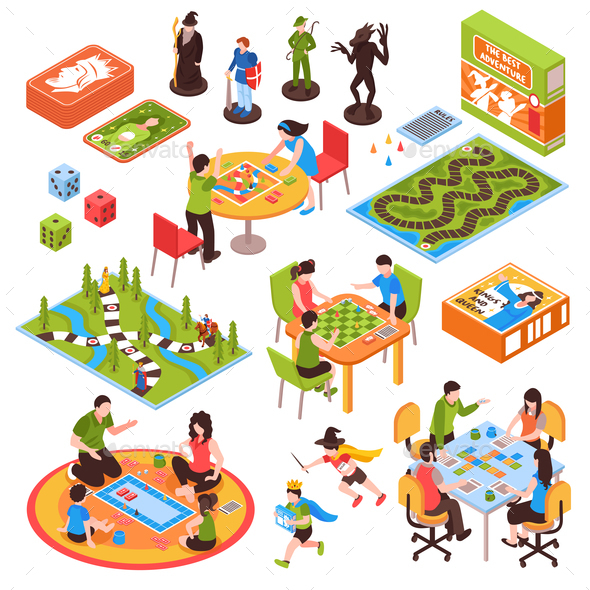 Board Games People Isometric Set - People Characters